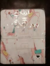 3pc POTTERY BARN KIDS MAGICAL UNICORN ORGANIC TWIN SHEET SET FLANNEL NWT