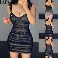 LAPA Women's Sexy Lace Bodycon Mini Dress Ladies V Neck Evening Party Dresses US