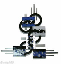 Blue Black Silver Modern Abstract Art Wood w/Metal Wall Sculpture Hanging (Med)