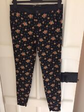 Zara Black Trousers with floral print and faux leather waistband . UK 10, Eur 38