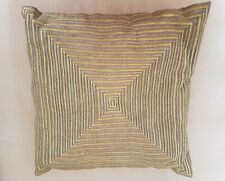 Green silk embroidered cushion - geometric design