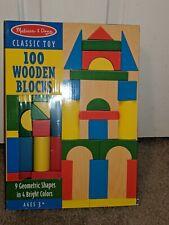 Melissa & Doug #481 Wooden Building Blocks 100  Pieces 9 Geometric Shapes