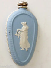 Wedgwood Athena Blue Jasper Ware Perfume Scent Bottle Flask Silver Top & Funnel