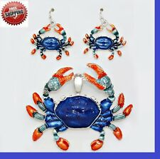 "Blue Ocean Life Sea Red Crab Pendant Necklace Earrings With 23"" Chain Long SET"