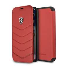 Ferrari IPHONE X Y XS Estilo Libro Funda Con Cartera Genuino Acolchado Cuero