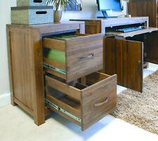 Baumhaus Mayan Walnut Two Drawer Filing Cabinet - Solid Walnut