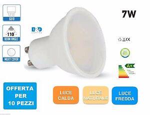 10 Pezzi  LAMPADA LED  FARETTO SPOT GU10 220V LED DA 7W  FARO SMD PORTAFARETTO