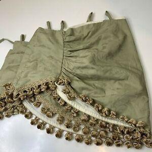 waverly curtain valance green floral leaf matelasse curtain tassel trim loop rod