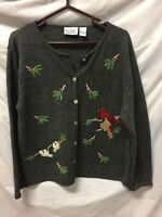 VTG National Wildlife Federation Button Down Sweater Cardigan Womens Sz L