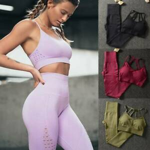 Sexy Women's Seamless Yoga Sports Suit Crop Tops+Leggings Fitness Pants Gym Set