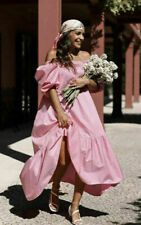 NEW  H&M CONSCIOUS Pink Puff-Sleeved Long Cotton Dress Size M