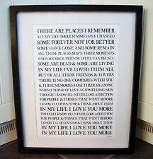 The Beatles/In My Life A3 size lyric art print/poster
