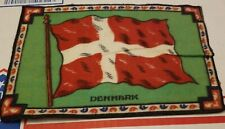 Antique Felt Tobacco Cigarette Cigar Premium Flag Large Denmark Flag 1900s