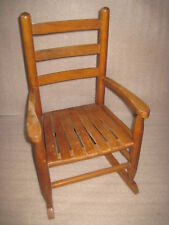 Vintage Antique Solid Wood Childs Rocking Chair Doll or Bear