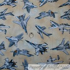 BonEful FABRIC Cotton Quilt Brown Gray Fly Boy Military Jet Airplane Map L SCRAP