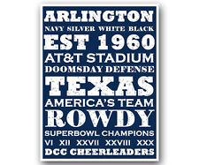Dallas Cowboys Art Poster NFL Football Subway Print 12x16""