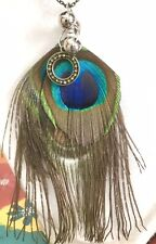 PEACOCK FEATHERS NECKLACE WITH ANTIQUE CHAIN