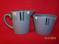 "Studio Nova ~ Flora Blue ~ Creamer 4"" & Sugar Without Lid 3 1/4"""
