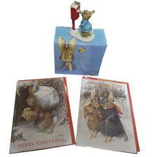 Beatrix Potter Peter Rabbit Posts A Letter Figurine & Christmas Xmas Cards