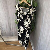 M&Co Black White Yellow Floral SIZE 14 PETITE UK Cowl Neck Sleeveless Dress