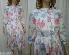 Ladies Vintage 80s White Satin Floral Occasion Dress Fit Size 8 10