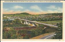 BA-234 Hancock Bridge, Maryland, 1930s-50s Linen Postcard, Train, Potomac River