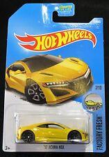 2017 Hot Wheels  Yellow '17 Acura NSX  Card #127   HW-42