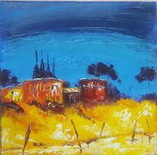 Tableau de Nolac 30x30 cm painting peinture les cabanes de pêcheurs oléron