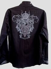 7 DIAMONDS..JET BLACK..EMBROIDERED..TEXTURED..SLIM FIT..SHIRT..sz XL