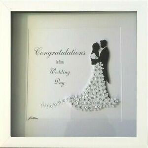 Personalised Wedding Diamante Gift Framed Picture Keepsake Bride Groom Present