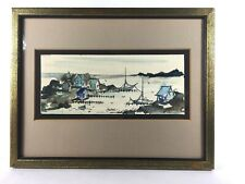 Vintage Pen and Wash Harbor Village Sailboat Seascape Watercolor Painting A/S