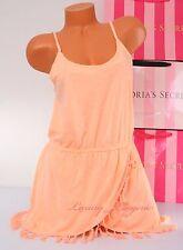 VS VICTORIA'S SECRET Macrame Fringe ~Cover-Up~ Spaghetti Dress ~M Medium~ Orange