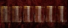 "6 Antique Clear OPTIC Drinking GLASSES with 2 GILT GOLD Borders 3.75"" Tall"