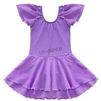 Girl Gymnastics Dance Party Tutu Dress Kid Ballet Leotard Outfit Skirt Age 2-14Y