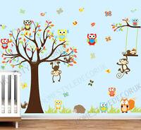 Jungle Safari Animal Tree Monkey Owl Wall Stickers Decal Kids Room Nursery Decor