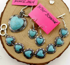 Set Betsy Johnson Pendant Jewelry Enamel Turquoise Heart-shaped necklace earring