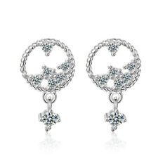 Ladies Charm Solid 925 Sterling Silver Zircon Cluster Round Stud Dangle Earrings