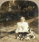 1900 Little Helen and the Puppies.  C.H. Graves  Stereoview Photo