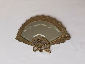 Fan-shaped Vanity Mirror with Original Decorated Glass, Brass Art Nouveau Style