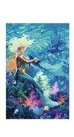 STEVE READ ~ MERMAID OCEAN HUG 24x36 ART POSTER Dolphin Coral Reef