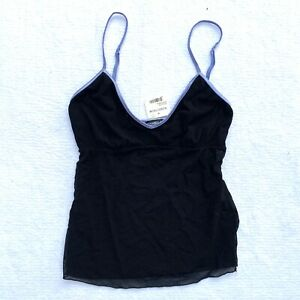 NWT Cosabella Women's L Black Soire Mesh Tank Top Made in Italy Built in Bra