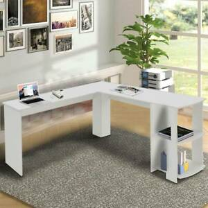 White L-shaped Computer Desk Corner PC Table Workstation Home Office w/ Shelves