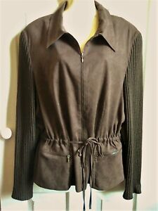 FISSER brown soft suede look/feel jacket size 42 apx 14 16 rib knit sleeves