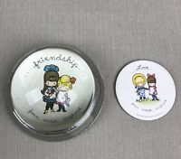 Joan Walsh Anglund Vintage LOVE/FRIENDSHIP Glass Dome Round Paperweight Wolfpit