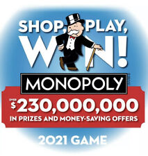 """100 Monopoly 2021 Pieces Tickets Albertsons Safeway New Unopened"""""""