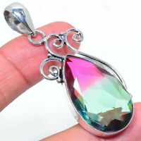 "Bi-Color Tourmaline Gemstone Handmade Ethnic Jewelry Pendant 2.44"" VS-387"