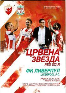2018, Crvena zvezda vs Liverpool ! OFFICIAL PROGRAMME ! Mint condition !