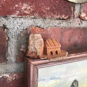 "3"" Tiny Miniature Carved Bark House Tree Wood / 2 Domed Doorways"