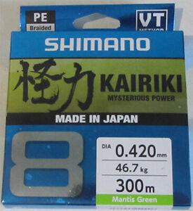 Mantis Green SHIMANO Kairiki 8 59WPLA68R0 8x Braided Fishing Line 300 metres
