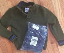 2pc Outfit Lands' End Pullover Cotton Sweater + NEW The Children's Place Jeans